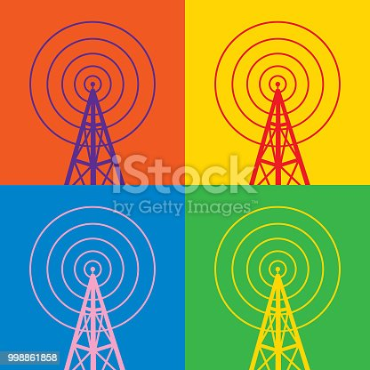 Vector illustration of four colorful radio tower icons.