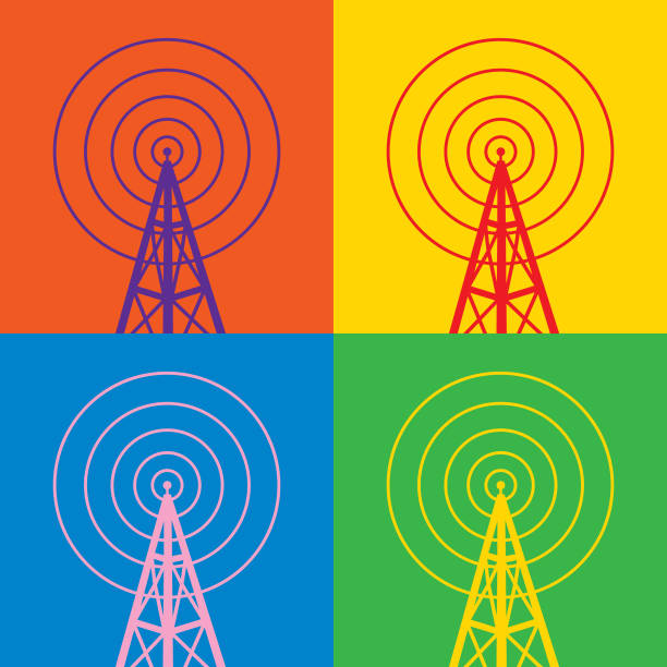 Four Colorful Radio Tower Icons Vector illustration of four colorful radio tower icons. repeater tower stock illustrations