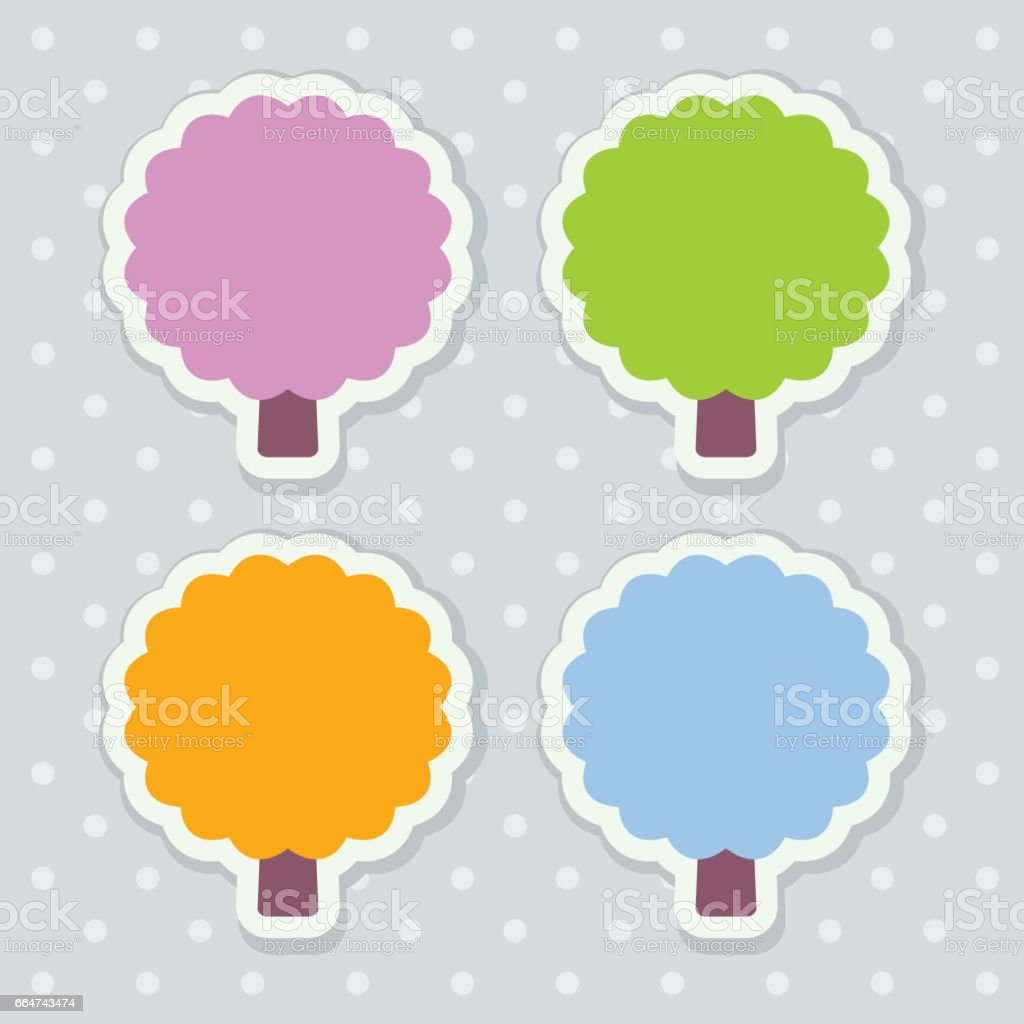 Four colorful seasonal stickers stylized as trees with scalloped edges vector art illustration