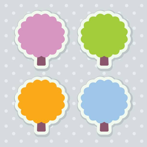 four colorful seasonal stickers stylized as trees with scalloped edges - four seasons stock illustrations