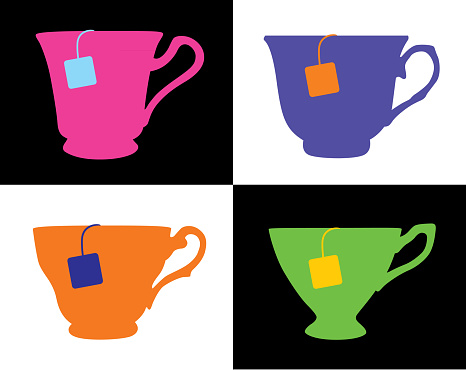 Vector illustration of a set of four colorful tea cups with teabags on a black and white background.