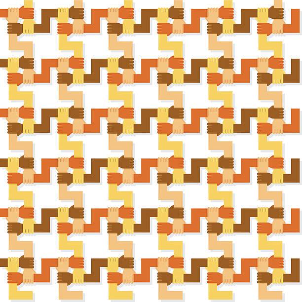 Four colours hands pattern vector art illustration