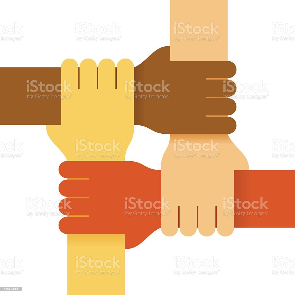 Four colours hands royalty-free stock vector art