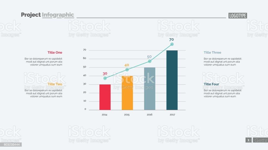 Four Columns Bar Chart Slide Template Stock Illustration