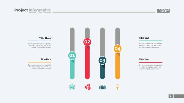 Four Columns Chart Slide Template Four columns bar chart. Business data. Option, diagram. Creative concept for infographic, templates, presentation, report. Can be used for topics like analysis, statistics, finance. four people stock illustrations