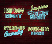 Vector illustration set of Comedy Night themed neon sign and brick wall. Poster design or invitation template, easy to edit on separate layers. Includes spot light with microphone on stand, curtains, and neon sign on a textured brick wall.