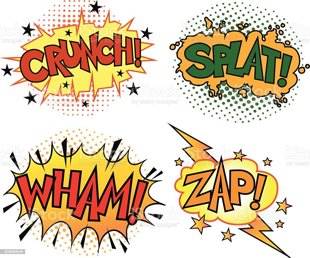Four Comic Book Sound Set vector art illustration