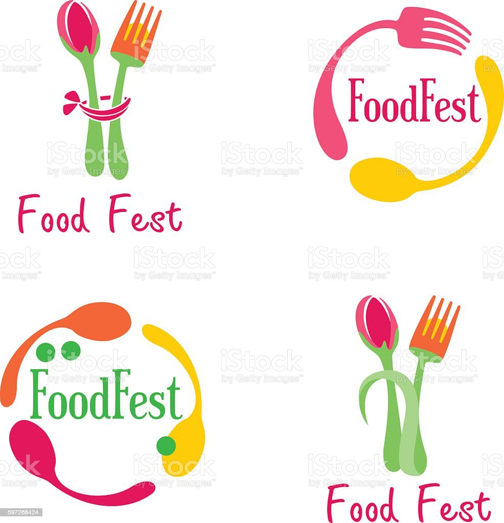 Four concepts of logotypes in food topic royalty-free four concepts of logotypes in food topic stock vector art & more images of circle
