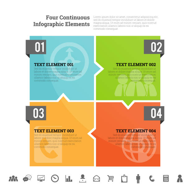 Four Continuous Infographic Elements Vector illustration of four continuous infographic element. square composition stock illustrations