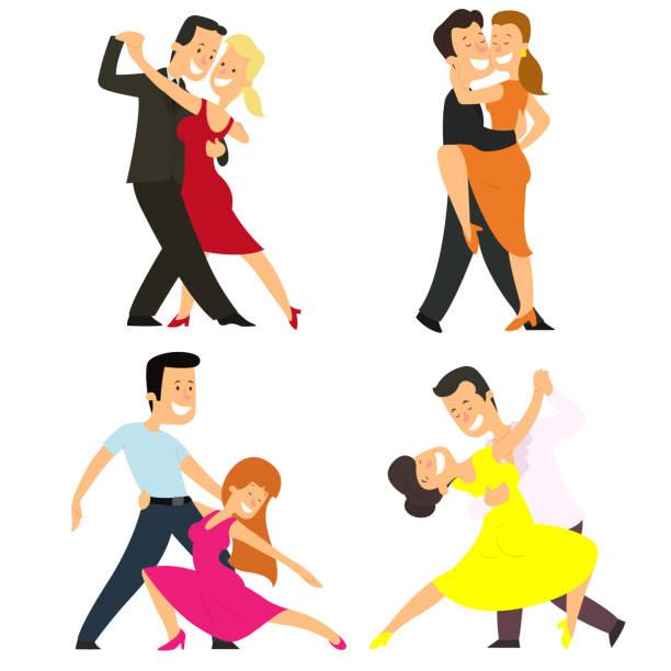 vier paare tanzen klassische tänze. - ballsäle stock-grafiken, -clipart, -cartoons und -symbole