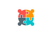 Four Creative People Connectivity Logo in jigsaw