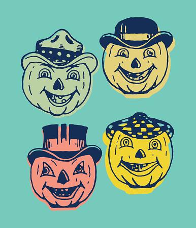 Four Creepy Pumpkin Faces