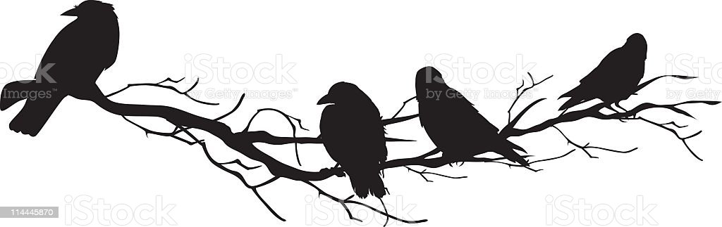 Four Crow Silhouettes Perched On A Branch Stock Vector Art ...
