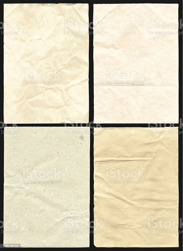 Four Crumpled Paper Texture vector art illustration