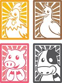 Four cute animal characters in the frame - four colors