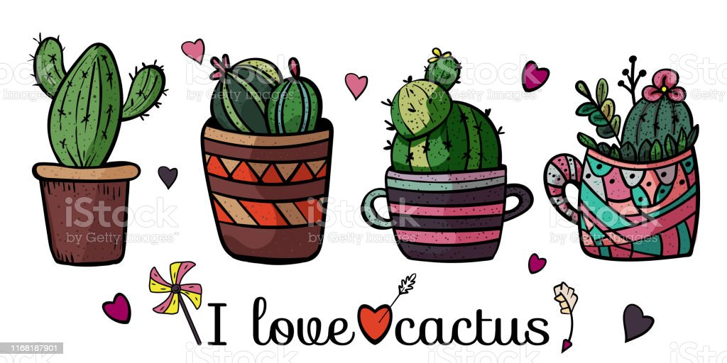 Four Cute Cacti In A Pot I Love Cactus Banner For Any Design