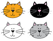 Vector illustration of two cute cat faces.