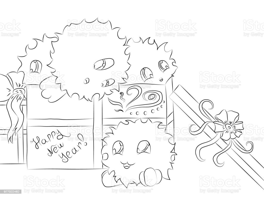 Ilustración de Regalo De Cuatro Monstruos Lindo Caja De Navidad Para ...
