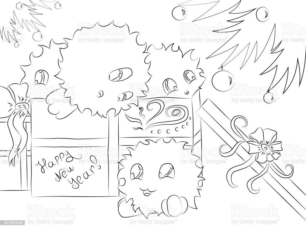Ilustración de Cuatro Monstruos Lindos Regalo Caja árbol De Navidad ...