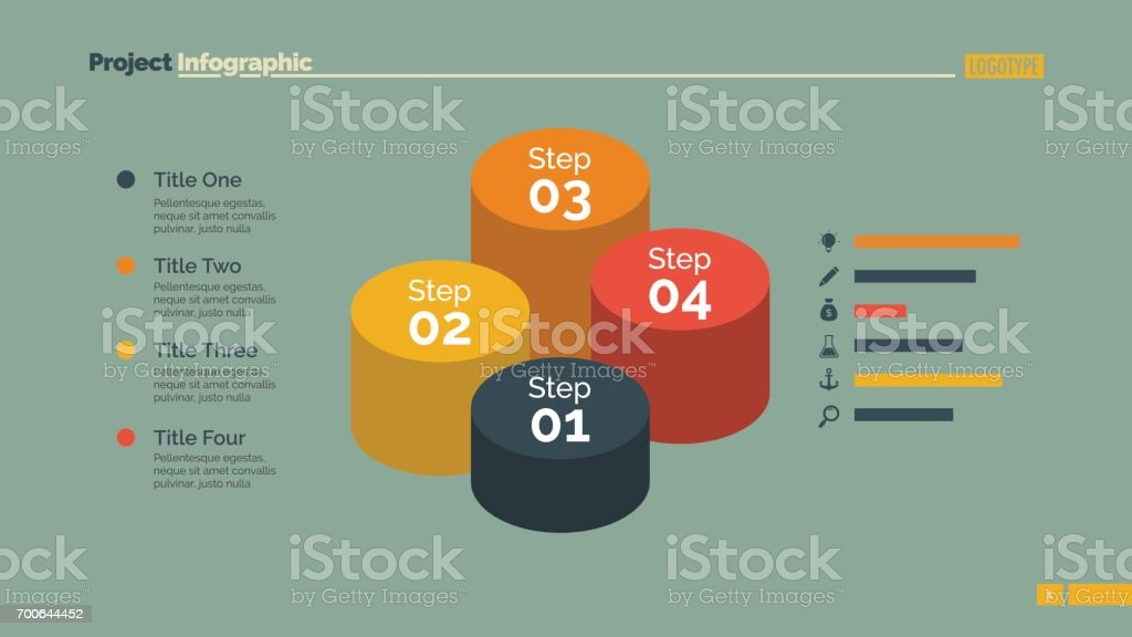 Four Cylinders Diagram Slide Template vector art illustration