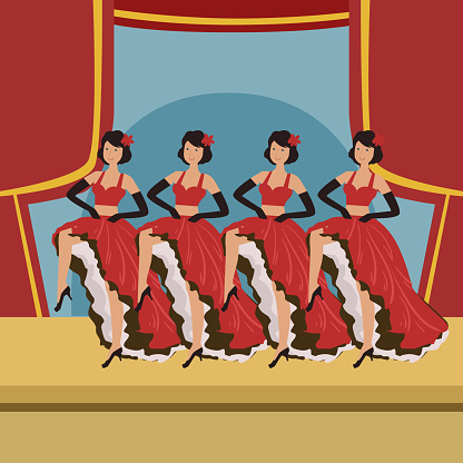 Four Dancers Doing Cancan On Theatre Stage