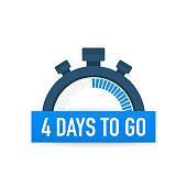 Four days to go. Time icon. Vector stock illustration on white background.