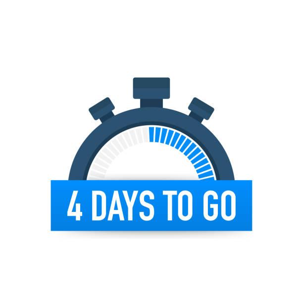 illustrazioni stock, clip art, cartoni animati e icone di tendenza di four days to go. time icon. vector illustration on white background. - mancino