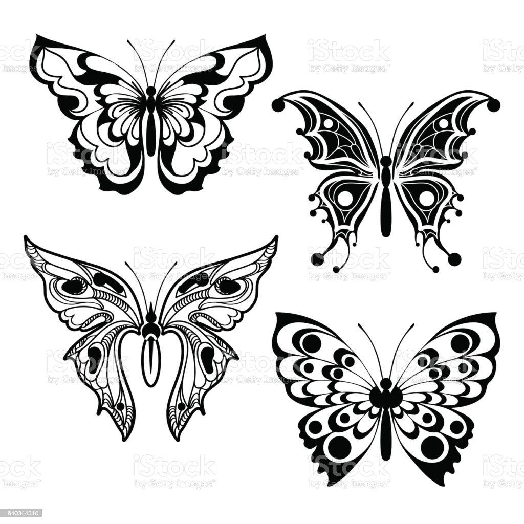 Four Decorative Butterflies Stock Vektor Art Und Mehr Bilder Von