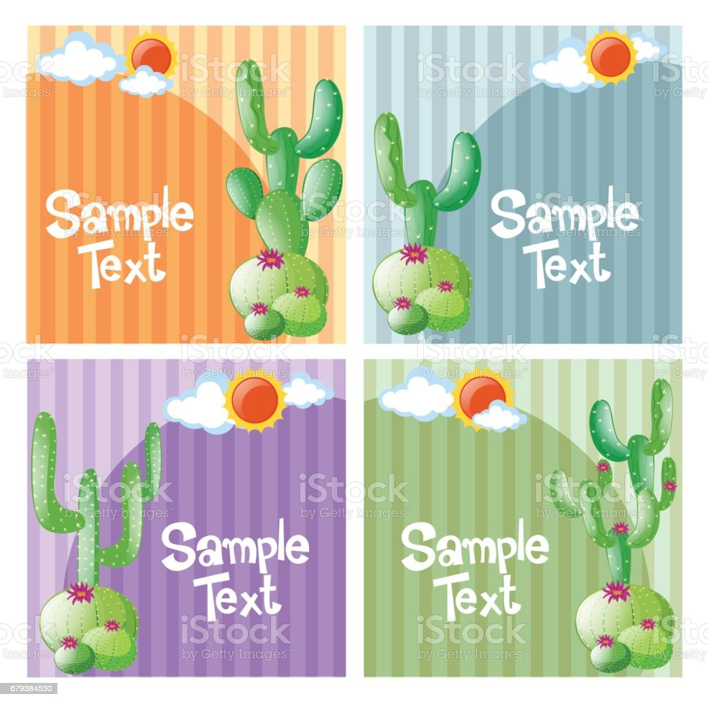 Four design of background with cactus royalty-free four design of background with cactus stock vector art & more images of art
