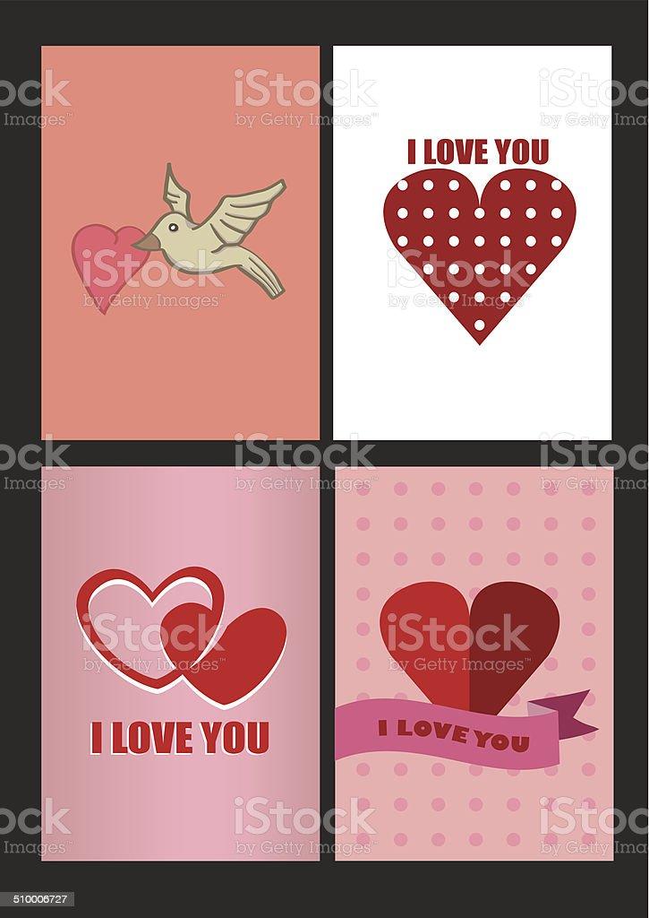 Ilustración de Cuatro Diseños Para San Valentín Tarjetas De ...