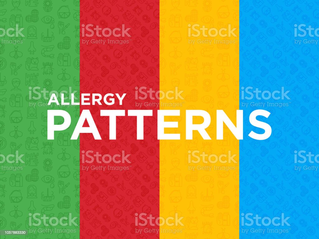 Four Different Allergy Seamless Patterns With Thin Line
