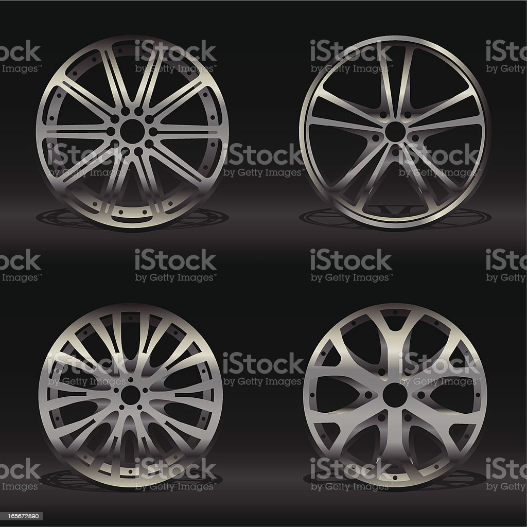 Four different alloy wheel designs on a black background vector art illustration