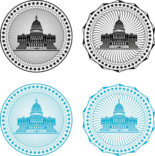 Four different black or blue congressional stamps Stamp with Capitol Building government stock illustrations