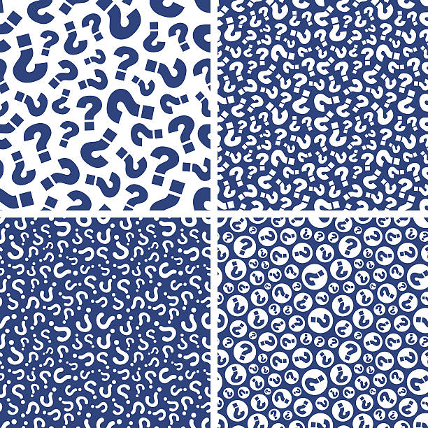 Four different blue and white designs made up of questions vector art illustration