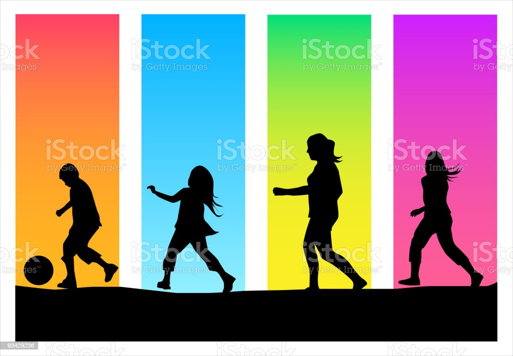 Four different children playing amidst colored backgrounds vector art illustration
