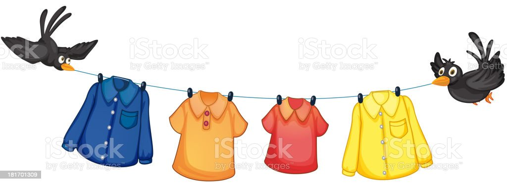 Four different clothes hanging with birds royalty-free stock vector art