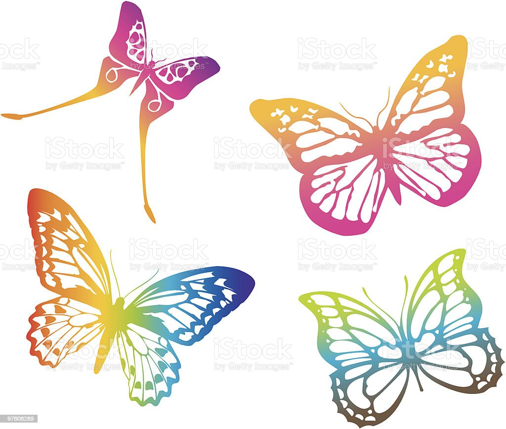 Four different colored butterflies royaltyfri four different colored butterflies-vektorgrafik och fler bilder på clipart