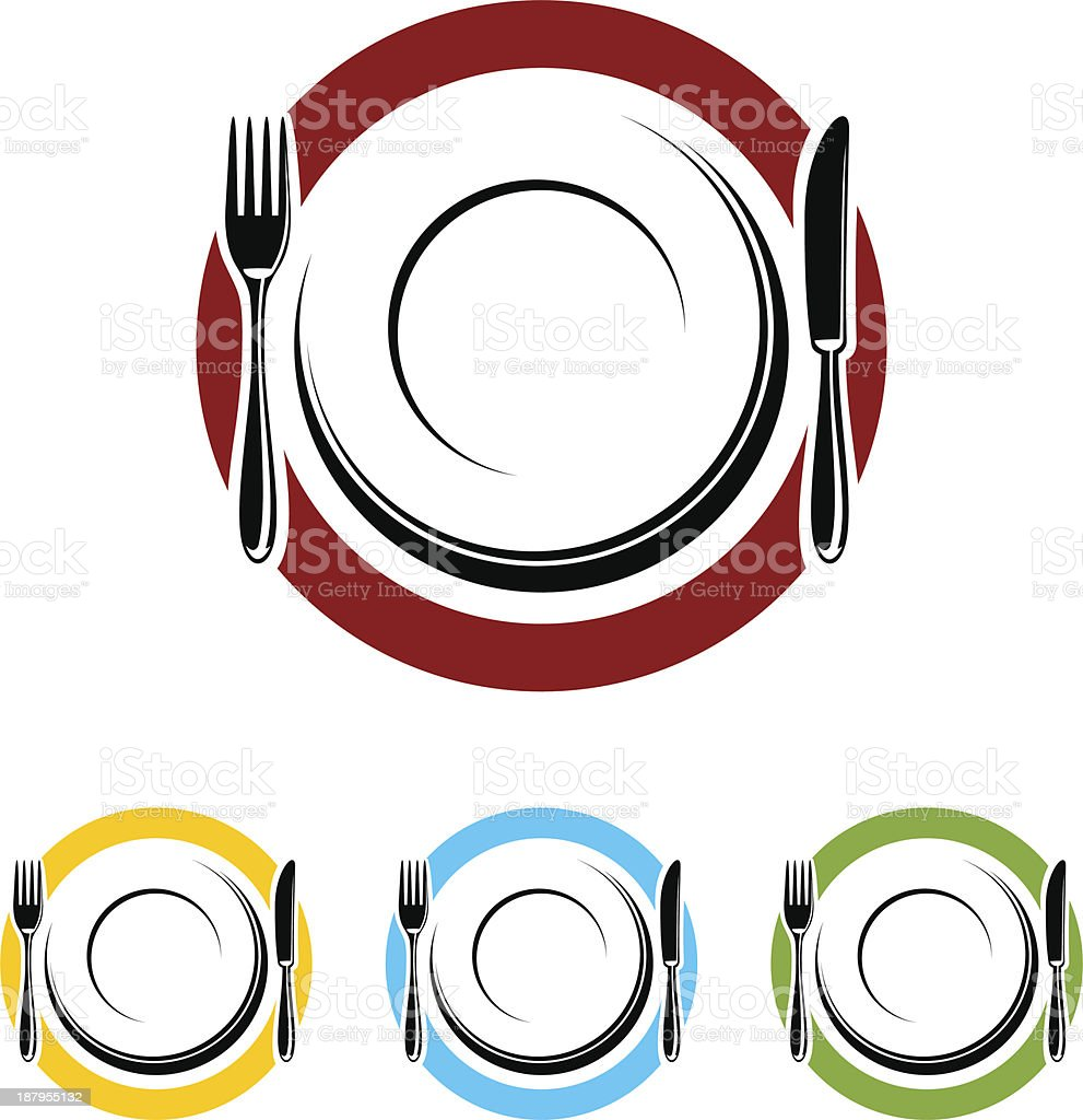 Four different colored dinner plates in a restaurant royalty-free stock vector art