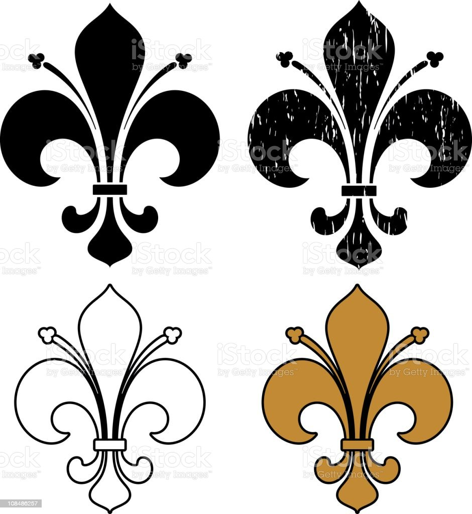 Four different colored fleur de list designs vector art illustration
