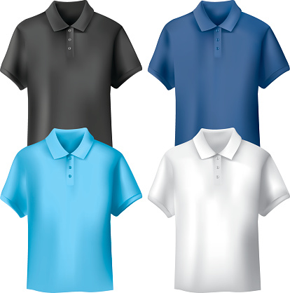 Four different colored men's polo shirts