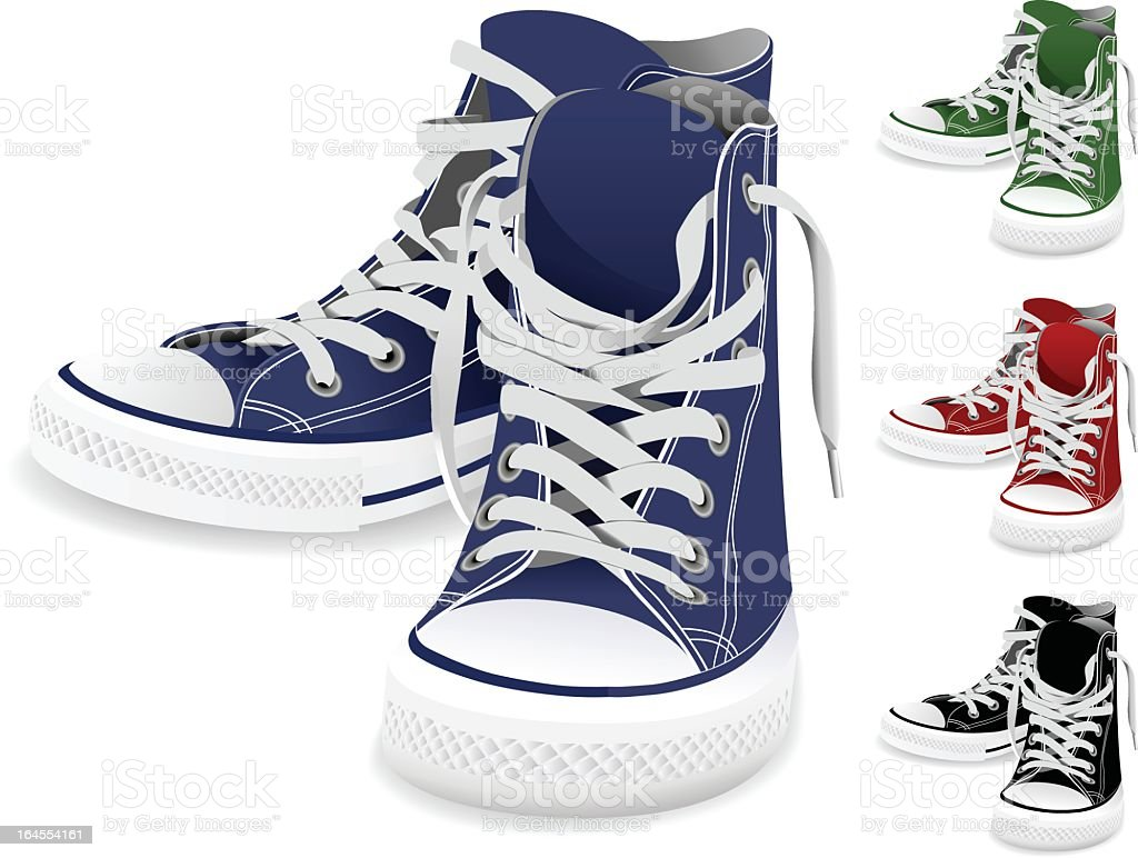Four different colored pairs of sneakers vector art illustration