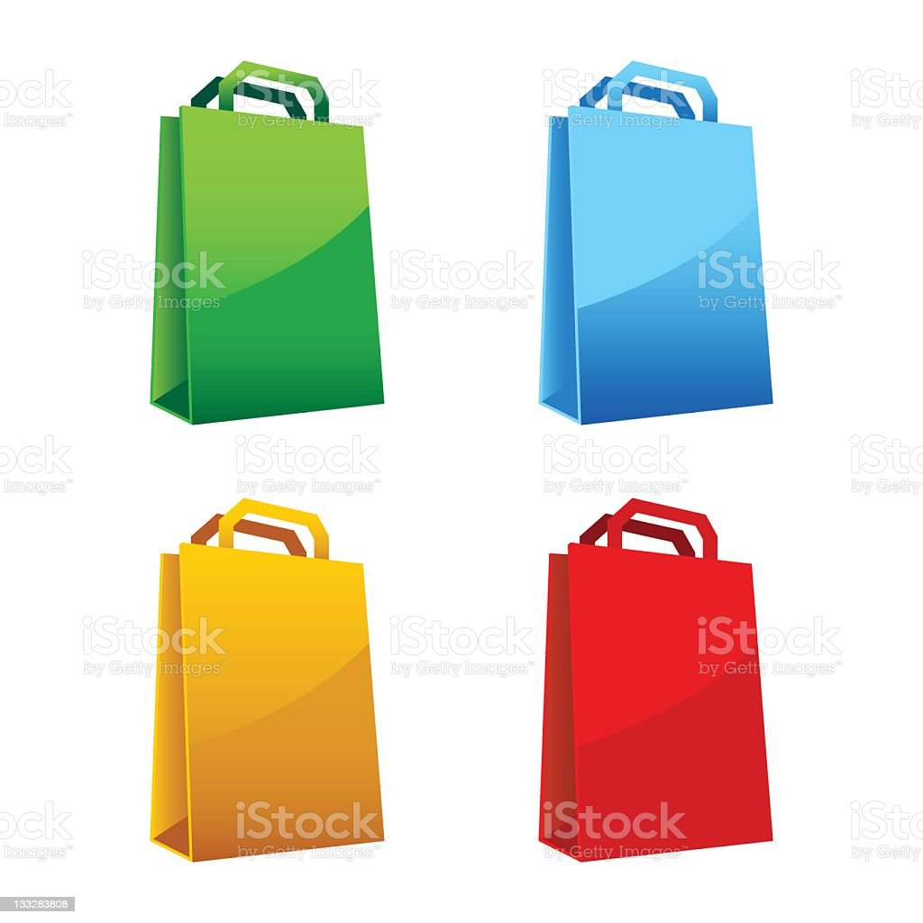 Four different colored shopping bags royalty-free stock vector art