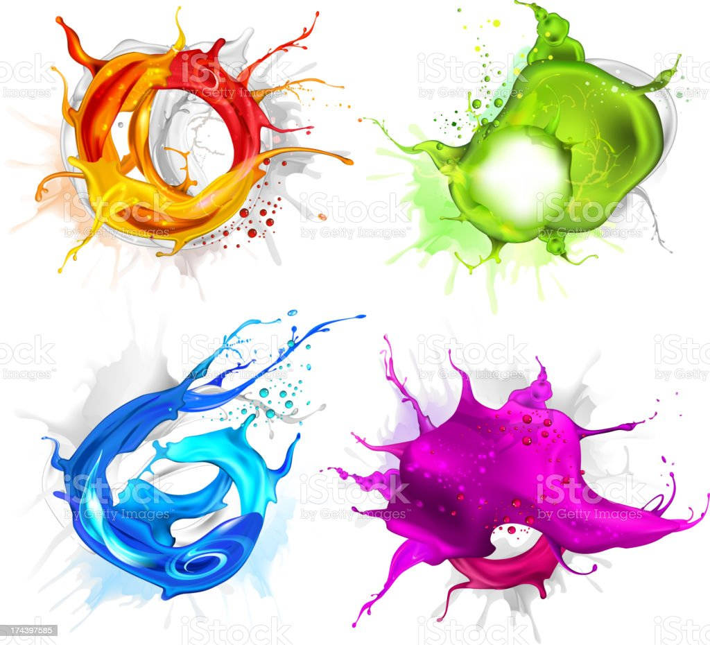 Four different colored splashes on a white background vector art illustration