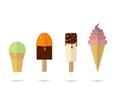 Four different ice creams with  shadows white background