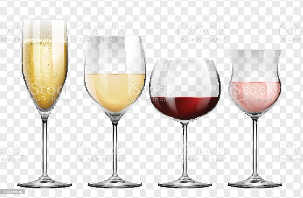 Four different kinds of wine glasses vector art illustration