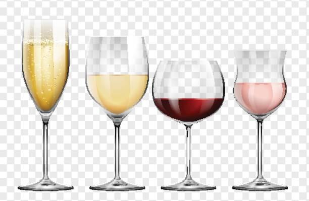 bildbanksillustrationer, clip art samt tecknat material och ikoner med fyra olika sorters vinglas - vitt vin glas