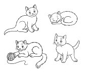 Four different kittens in outlines. Vector illustration. EPS8