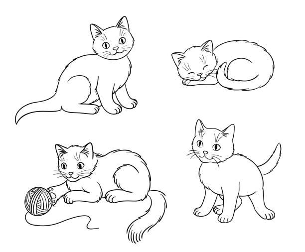 アウトライン ・ ベクトル図の 4 つの別の子猫 - 子猫点のイラスト素材/クリップアート素材/マンガ素材/アイコン素材