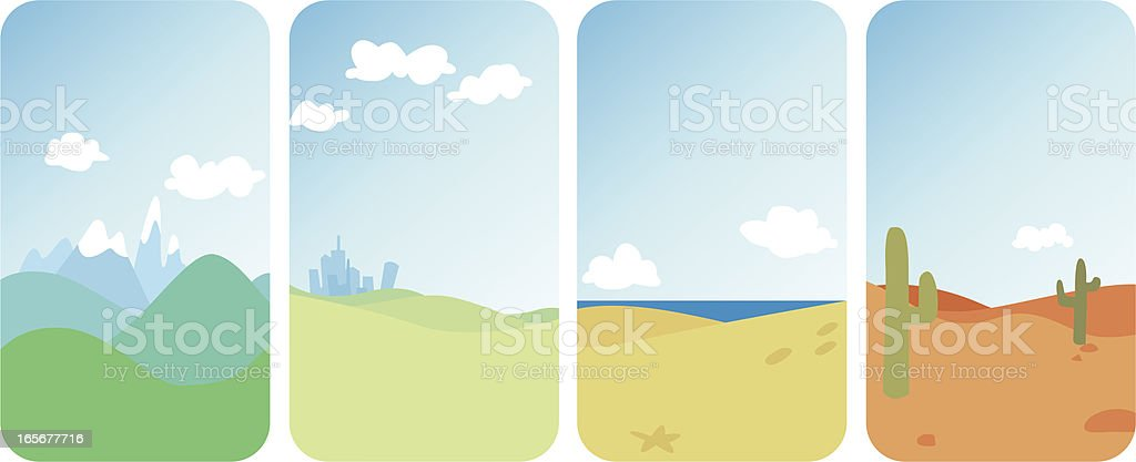 Four Different Landscapes royalty-free stock vector art