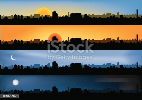 istock Four different panoramic city scenes 165487673